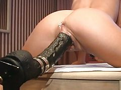 largest dildo, Brutal Dildo Fucking Rams Her Fast And Hard