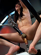 Weird Sex Toys and Huge Dildos inside pussy of Aiden Ashley