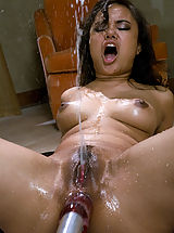 Tight Vagina, Asian Squirts all over herself as machines pound her ass & pussy