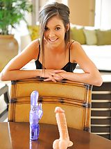 Brooke riding a large dildo