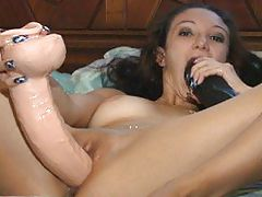 Fingering Her Ass While Riding A Brutal Dildo