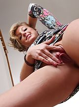 Spunky girl Ashley Jones bare in the stairs.