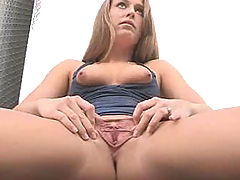 Kiera spreads pussy at the fire station