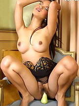 The Black Alley Pics: Asian Women lily tang 09 secretary lingerie fruits food vegetables